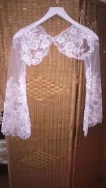 white lace jacket and train size 8uk + lace fabric