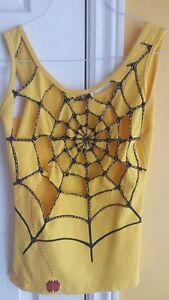 Unique Yellow Spider Web Beaded Tank Top