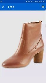LADIES GENUINE LEATHER M&S ANKLE BOOTS, TAN BRAND NEW SIZE 6 CUTE ROUND HEEL