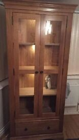 Tall oak side unit with glass doors and LED lights
