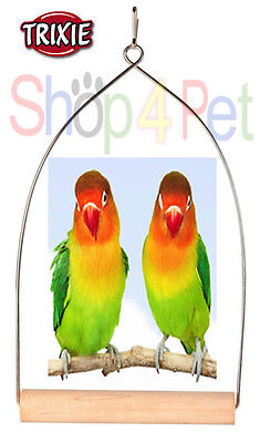 BIRD CAGE SWING TRIXIE METAL ARCH FRAME WOOD PERCH CANARY SMALL BIRD PET