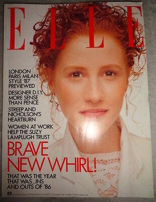 Vtg British Elle UK 1/1987 Naomi Campbell Aidan Quinn Meryl Streep Claudia Mason