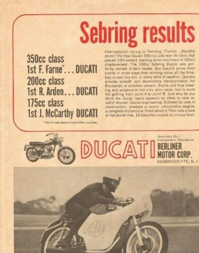 1965 Ducati 350cc Sebring - perfectly named, a born leader Vintage Motorcycle Ad