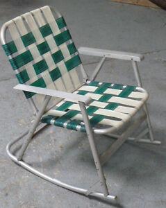 Vintage Aluminum Folding Webbed Lawn Chair Rocker Green w ...