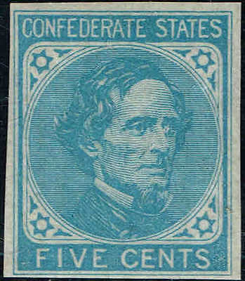 *CSA6 1862  5c LIGHT BLUE,De La Rue PRINT CONFEDERATE STATES ISSUE MINT-OG/NH