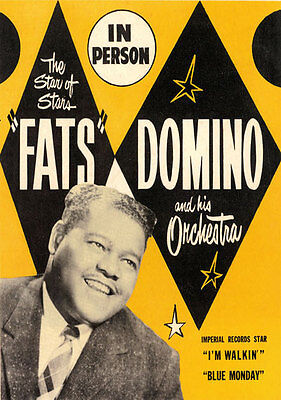AD56 Vintage 1950's Fats Domino Music Concert Poster Re-Print A4
