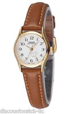 Casio Women's Brown Leather Strap Watch, White Dial, DOG, LTP1094Q-7B7