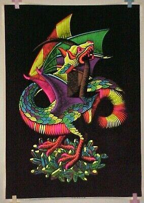vintage 70's DRAGON BIRD Blacklight velvet Poster