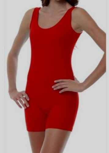 Unitard Biketard bright RED TANK Cotton blend STRETCH New w/tags Body Suit