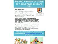 ARE YOU A PARENT OR CARER OF A CHILD AGED 0-5 YEARS OLD? Then we need you!