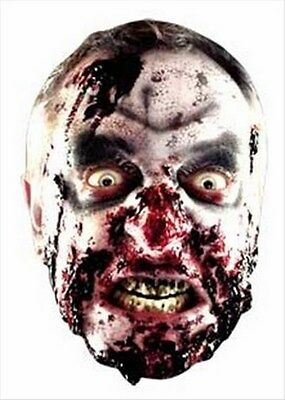 Scary Zombie Halloween Fun CARD Single Party Face Mask ()