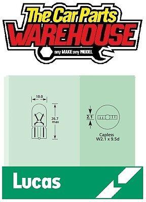 10 x (ten) Lucas 501 Capless ( push in ) Clear Sidelight Bulb (LLB501) 12v 5w