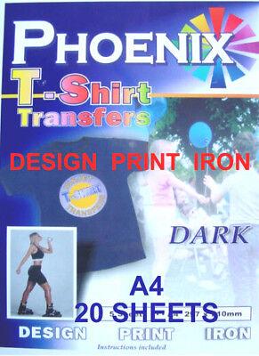 Para Plancha Camiseta Oscuro Papel Transfer A4 20 Hojas