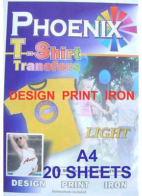 Para Plancha Camiseta Luz Papel Transfer A4 20 Hojas Phoenix Marca