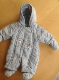 Pale Blue Cosy Snow/Pram Suit Newborn from Mothercare