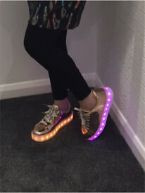 Ladies Flashing Rose Gold Trainers size 6