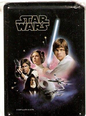 + STAR WARS Blechschild Luke, Han, Leia und Obi-Wan Postkartengrösse neu OVP ()