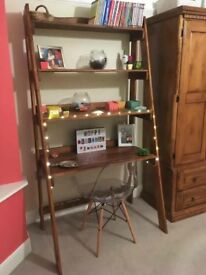 Wooden computer ladder shelf unit