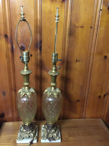 Vintage Glass and Marble table lamps.