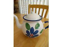 ENAMEL BLUE FLORAL TEA POT - made in poland