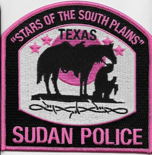 SUDAN TEXAS TX POLICE DEPT PINK PATCH STARS OF THE SOUTH PLAINS PRAYING COWBOY