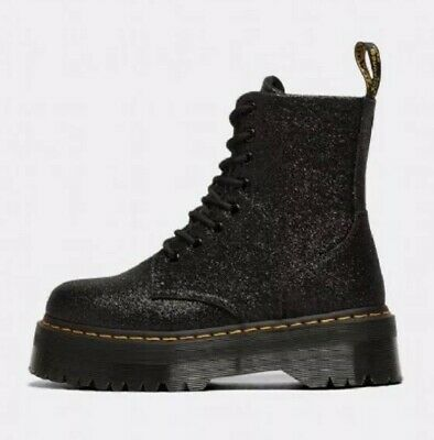 Dr. Martens Womens 8 Eye Jadon Zip Boot - Black Glitter - BNIB - UK4