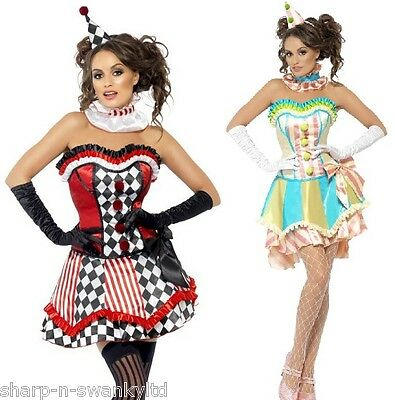 Damen Sexy Harlekin Clown Zirkus Karneval Kostüm Verkleidung Outfit UK 8-18 (Zirkus Kostüme Uk)