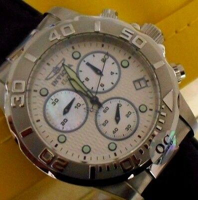 Mint Invicta Elite Pro Diver White Swiss Quartz Chrono Leather Band. w/Box