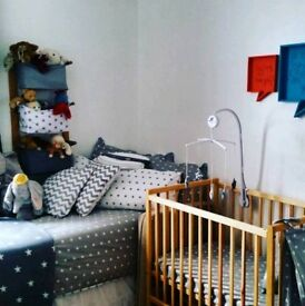 Compact cot & grey starry accessories!