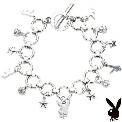 Crystal Star Charm Bracelet - Playboy Charm Bracelet Silver Swarovski Crystal Bunny Star Toggle NEW YEAR'S EVE