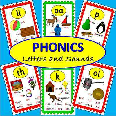 70 Phonics flash cards on CD- Letters and Sounds- Literacy, posters, EYFS, KS1+2