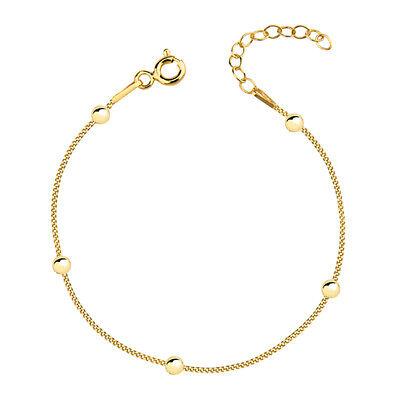 Damen Silber Armband Armkette Kugel Panzerkette 16-19cm vergoldet Echt Silber