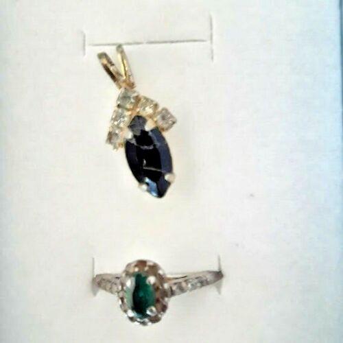 Vintage jewelry set GEMSTONE Pave DARK GREEN Silver ring+ DEEP BLUE gold pendant