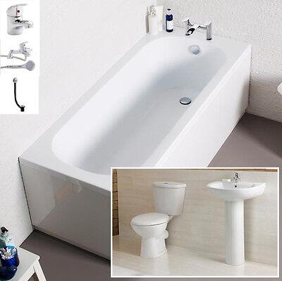 Cheap Bathroom Suite Bath 1700mm Inc Toilet, Basin, Front Panel, Bath Filler Tap
