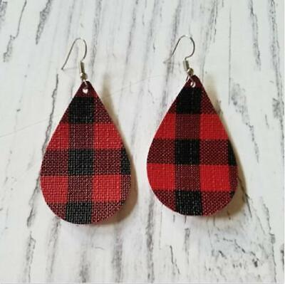 RED & BLACK BUFFALO PLAID teardrop Earrings faux leather fabric Christmas  Red Christmas Earrings