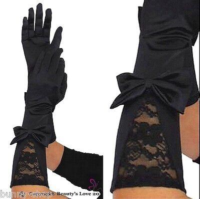 Lange Nylon Handschuhe Schwarz (1 Paar Elegante Ellenbogen lange Satin Handschuhe mit Spitze und Schleife BLACK)