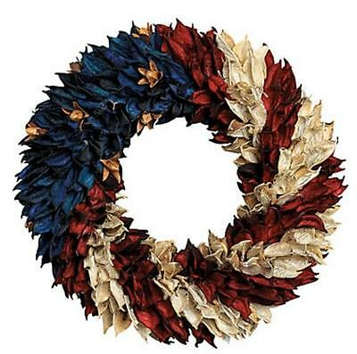July 4th Patriotic American Flag Floral Wreath for Door Wall Centerpiece - Flag Wreath