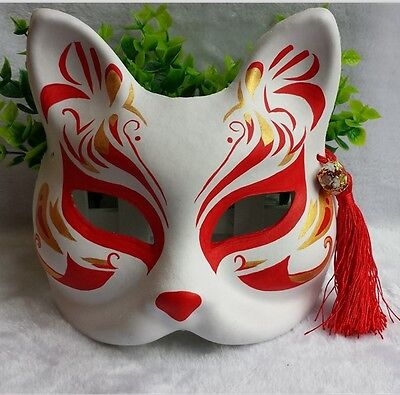 Japanese Babymetal Kitsune Hand-painted Fox Half Face Halloween Costume Mask Red - Halloween Eye Mask Face Paint