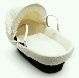 Kinder valley Cream Dimple with Dark Wicker moses basket. Brand new in sealed packs. 3 left