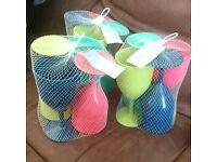 3x sets of 4 plastic wine glasses