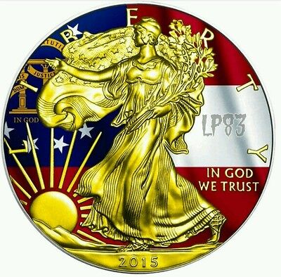 2015 Georgia State Flag US Silver Eagle 1oz Silver Coin 24kt Gold