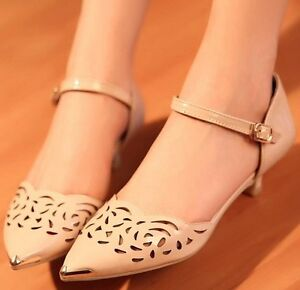 Ladies-Womens-Pointed-Toe-Cutout-Ankle-Strap-Mid-Heel-Pumps-Shoes-018