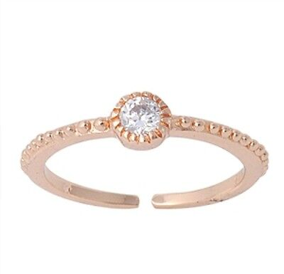 Silver Toe Ring Solitaire 4 mm Stone Clear CZ Rose Gold Plated Sterling
