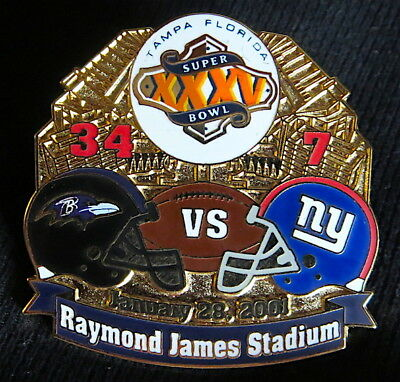 Super Bowl 35   Baltimore Ravens Vs Giants Final Score Lapel Pin Willabee   Ward
