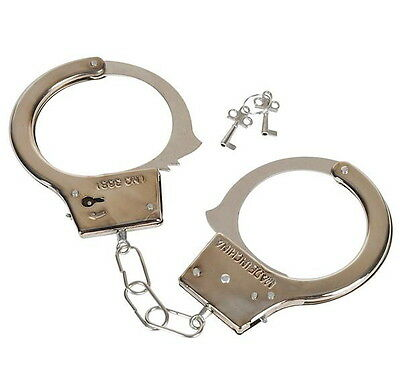 STEEL HANDCUFFS 2 KEYS METAL POLICE MAGIC TRICK PRANK GAG GIFT PARTY TOY - Metal Handcuffs
