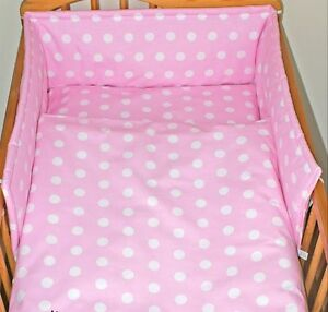 2/3/5 Piece Baby Nursery Bedding Set 120x90 or 135x100-Antiallergic-Dots on Pink