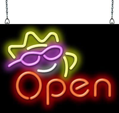 Sunshine Open Neon Sign Jantec 2 Sizes Summer Ice Cream Tanning Salon