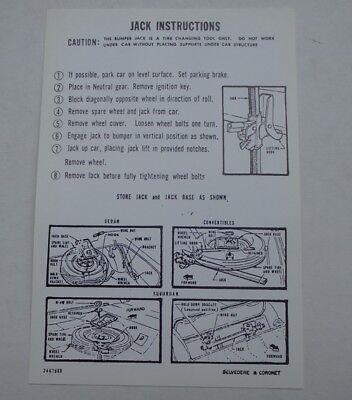 Mopar 65 Satellite Coronet Jack Instructions Decal NEW 1965 2467968 DD0080