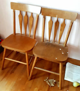 Pair of Vintage 1960's Canadian Made Solid Maple Kitchen Chairs