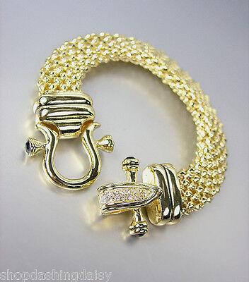 (NEW Designer Inspired Gold Mesh Black Onyx CZ Pave Crystals Buckle Bracelet)